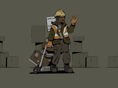 Key Workers 04 character design warehouse worker boxes delivery procreate ipad doodle sketch character design illustration