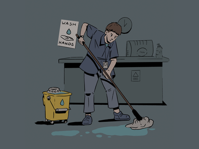 Key Workers 05 hospital worker cleaner procreate ipad doodle sketch character design character design illustration