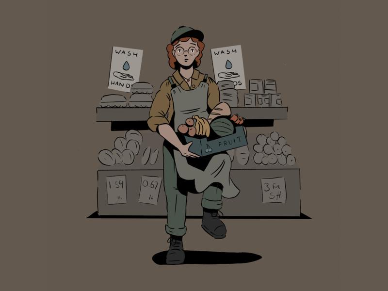 Key Workers 06 worker vegatables fruit grocery shop woker procreate ipad doodle sketch illustration design character design