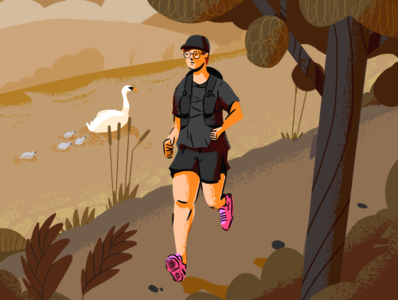 Towpath Trawlers sports marathon jogging water outdoors countryside hills virus covid swans bird canal trees running doodle sketch procreate design illustration