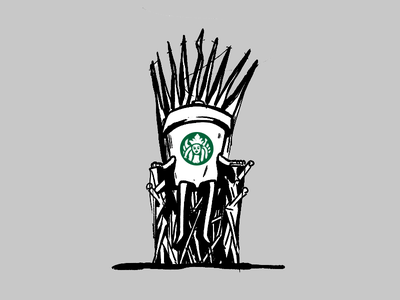 Protector of the Seven Kingdoms illustration queen throne coffee ipad starbucks doodle sketch design game of thrones