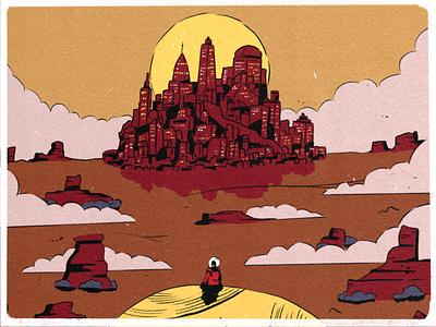 22 — Ghost sun cloud horizon city space doodle sketch procreate ipad inktober2019 inktober illustration design