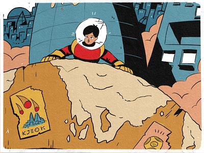 24 — Dizzy space character illustration art palette city poster design sketch procreate inktober inktober2019 illustration