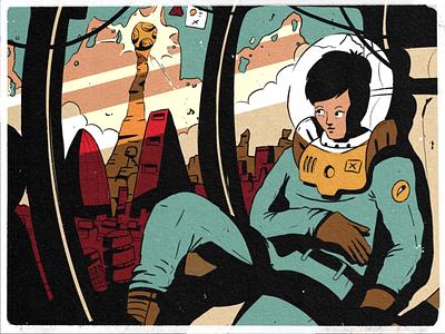 26 — Dark doodle strip comic character design character space city inktober2019 inktober sketch procreate