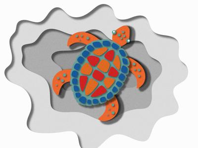 Radioactive sea turtle - card board cutout style