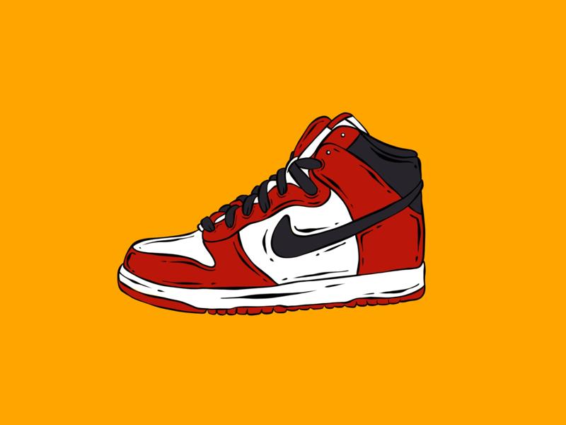 Shoe Head cartoon air jordans graphic design illustration nike shoe head