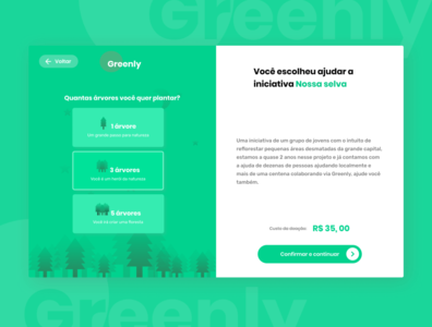 Greenly - Pagina de seleção vector cards web nature minimalism ui webdesign illustration minimal figma