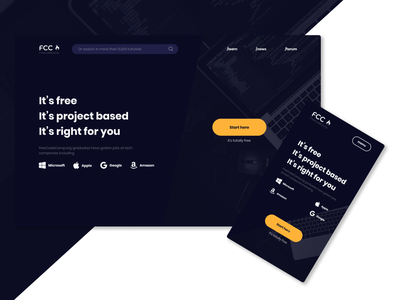 FreeCodeCamp - redesign learning code web webdesign ui figma minimal redesign