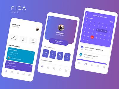 Fida aluno app mobile university minimal figma ui