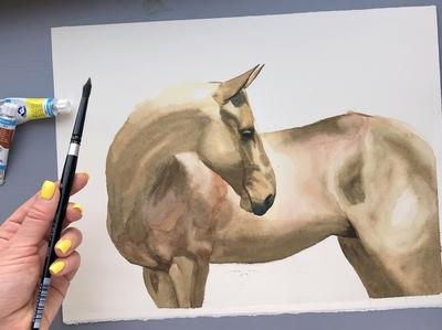 Watercolor Akhal-Teke