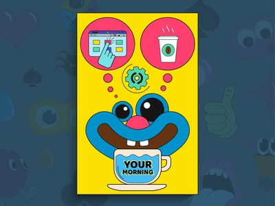 Bright art illustration in cartoon style sound mouth comic coffee vector thoughts morning wake up cup think computer tablet graffiti smile your music wow cartoon pop art