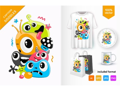 Cute doodle monsters emotion humor art bubble doodles grafitti sketch abstract vector monster vector comic bubbles graffiti halloween doodle creature crazy characters cartoon monster