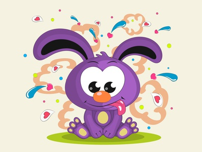 Cute rabbit is sitting smile mammal colourful humor ear fun pet art character isolated hare happy comic illustration holiday cute cartoon characters animal rabbit