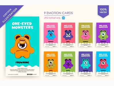 9 Funny One-eyed monsters toy sweet illustration kid vector cartoon cute birthday love lovely baby shower patterns celebrate heart childish graphic baby card greeting animal monsters