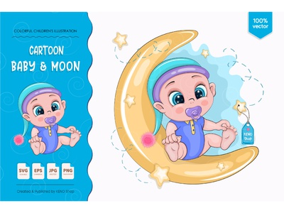 Cartoon baby & moon. love greeting design background vector cute illustration card children cartoon shower kids boy art character baby cartoon baby boy baby baby boy shower little baby