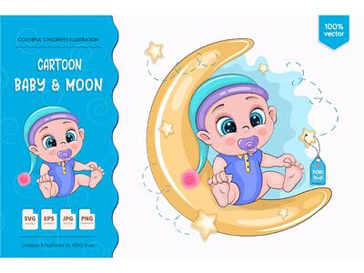 Cartoon baby & moon. love greeting design background vector cute illustration card children cartoon shower kids boy art character baby cartoon baby boy baby baby boy shower little baby