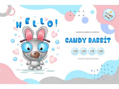 Candy rabbit. celebration cheerful happiness children mammal toy easter bunny kids eye rabbit cartoon adorable illustrations animal drawing cute bunny character bunny hare cartoon rabbit