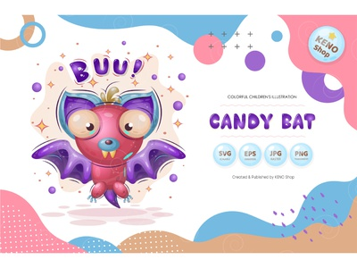 Candy bat. drawing creature comic adorable smiling graphic flying mammal cute october vampire horror illustration halloween character isolated vector animal bat cartoon