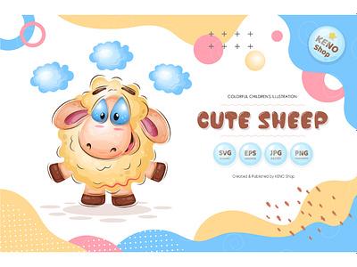 Cute Cartoon Sheep. art animal painted greeting mammal hand drawn drawing cute wool cloud sky clouds fairy tale dream mutton ewe ram lamb cartoon sheep