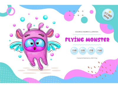 Cute cartoon flying monster. devil expression icon crazy cheering funny halloween silly design goofy cute ghost character troll alien isolated vector illustration cartoon monster