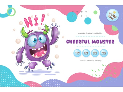 Cheerful cartoon monster. devil expression icon crazy cheering funny halloween silly design goofy cute ghost character troll alien isolated vector illustration cartoon monster