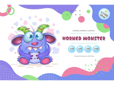 Cute Horned monster. expression icon crazy cheering funny halloween silly design goofy cute ghost character troll alien isolated vector illustration cartoon monster