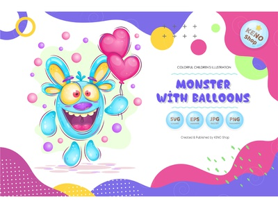 Monster with balloons expression icon crazy cheering funny halloween silly design heart cute ghost character balloons alien isolated vector illustration cartoon monster