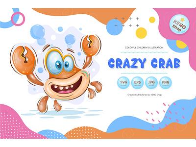 Cute cartoon crab positive art avatar design joy caricature happiness print comic mascot characters emoticon cartoon character expression playful funny animals character cartoon crab