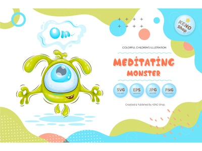 Meditating monster face devil expression icon cheering funny relax calm green silly design cute ghost character alien isolated illustration cartoon monster