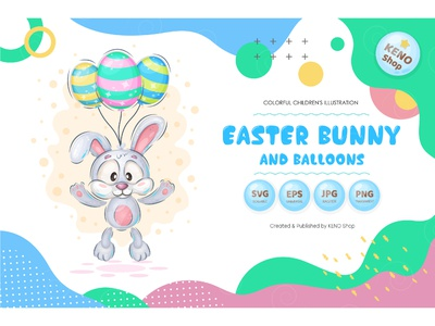 Easter bunny with balloons egg bunny illustration bunny graphics illustration funny rabbit clipart graphics hare clip art easter illustrations cartoon cute bunny clipart bunny easter rabbit balloons rabbit easter clipart easter easter bunny
