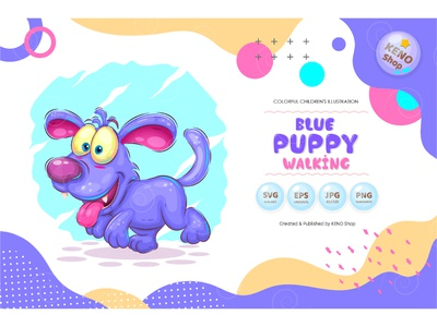 Blue puppy walking dog illustration cute animal clipart animals dog clipart doggy clip art graphics dog graphic clipart dogs blue puppy happy vector illustration cartoon character mascot dog puppy