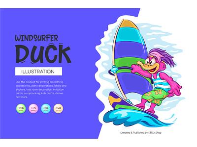 Cartoon Duck Windsurfer mallard