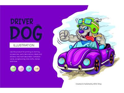 Cartoon dog driver. t shirt