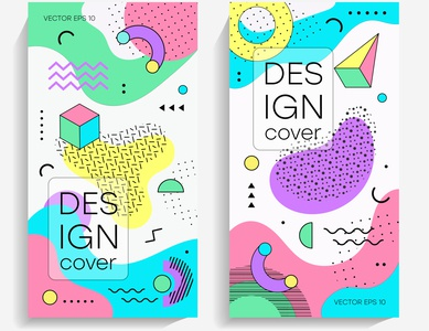 Brochures with memphis design elements