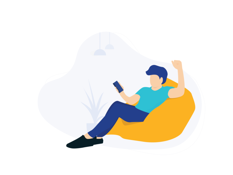 Man with smartphone and sit on his beanbag activity people flatdesign design illustration