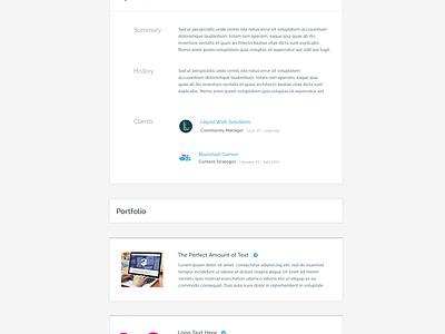Profile Redesign minimal portfolio profile product design