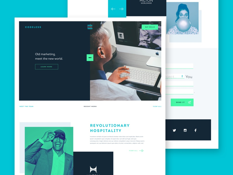 Codeless Homepage branding agency marketing flat material website