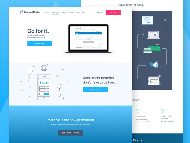 App Internal Page gradient blue internal icons illustrations landing web design app