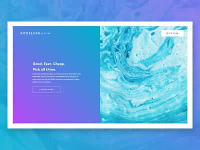 CODELESS / SITES gradient web landing page