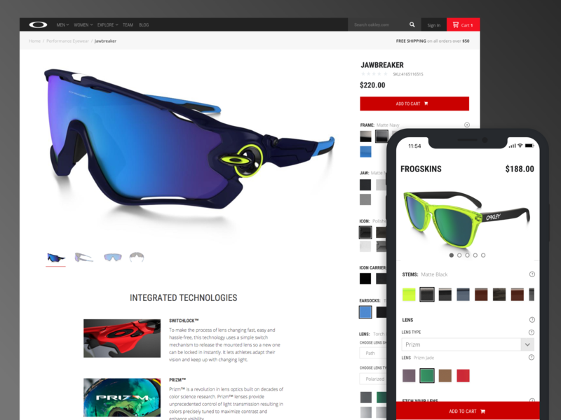 Oakley Custom custom oakley web design ecommerce