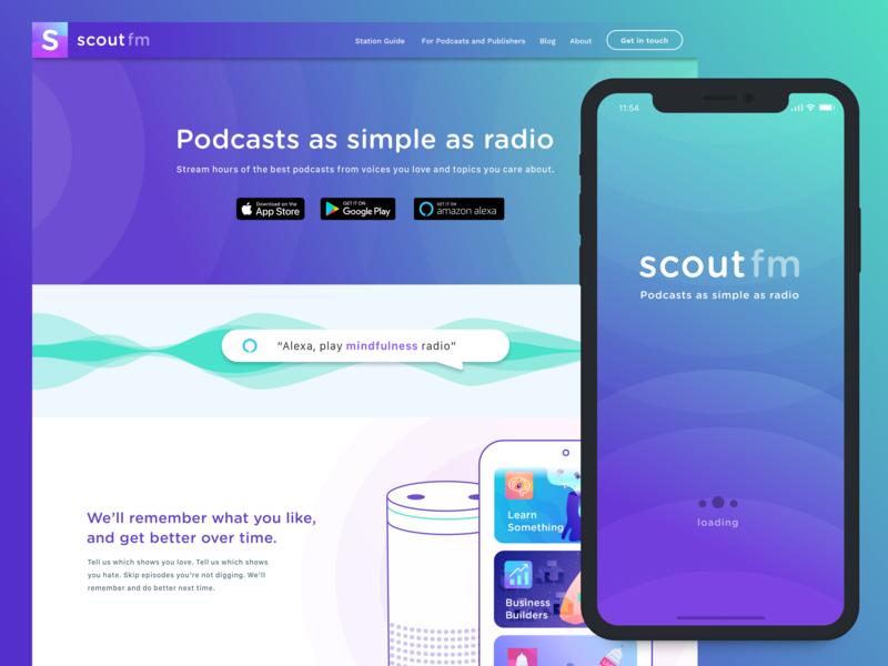 Scout.fm landing page gradient pdocast app