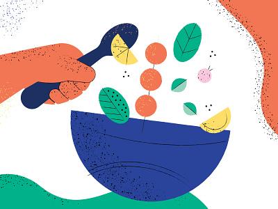 Salad bowl spoon leaf kebab lemon bowl salad hand vector texture illustration
