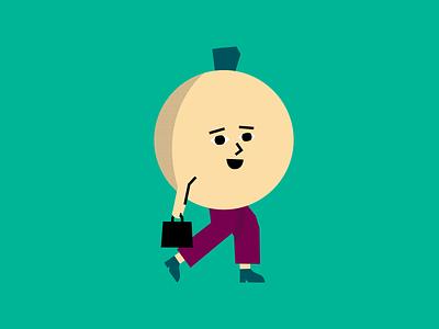 Mr. Lemon Goes to Work flat illustration pants briefcase vector illustration lemon