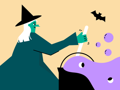 Eyeball brew bubbles vector flat illustration halloween eyeballs brew bat wart cauldron witch