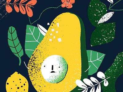Avocado! face salt flowers leaves brushes vector illustraion avocado
