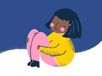 Girl night latina bob haircut cheeks stipple brush vector texture illustration snow
