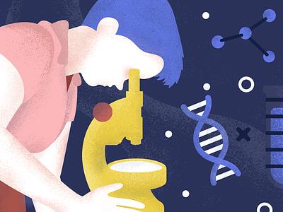 Rosalind Franklin google scientist test tube dna lab women in science texture illustration