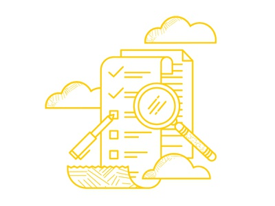 HR Support spot illustration yellow line illustration clouds check list magnifying glass pattern illustration hr software