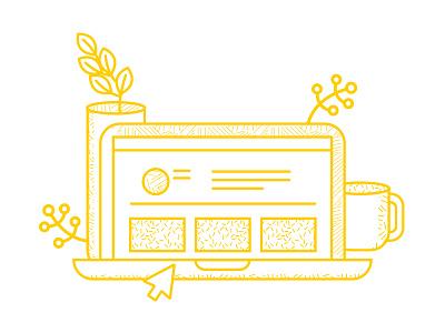 HR Software Spot Illustration plants vector desk laptop yellow line illustration pattern illustration hr software