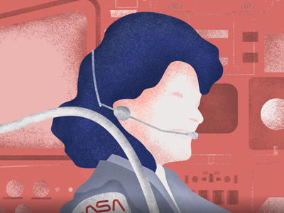 Sally Ride google texture brushes illustration texture shuttle spaceship women in space space nasa astronaut sally ride